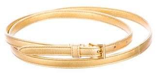 Prada Metallic Leather Skinny Belt