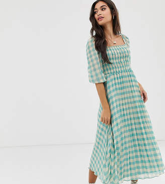 Asos DESIGN Petite shirred pleated midi dress in gingham print