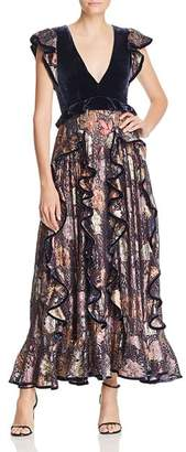 Rebecca Taylor Floral Ruffle & Velvet Maxi Dress