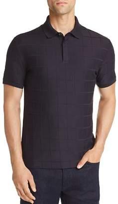 Emporio Armani Windowpane Textured Jersey Polo Shirt