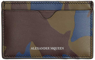 Alexander McQueen Burgundy Military Camo Card Holder