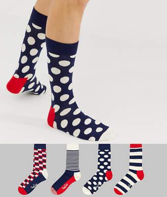 Happy Socks 4 pack stripe gift box