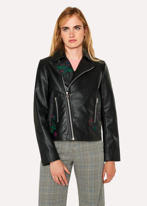 Paul Smith Women's Black Leather Biker Jacket With Embroidered 'Karami' Detail