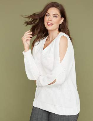 Lane Bryant Cold-Shoulder Cable Sweater