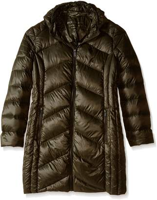 BCBGeneration Women's Packable Down with Hood, Army Green