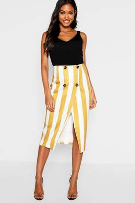 boohoo Button Detail Stripe Midi Skirt