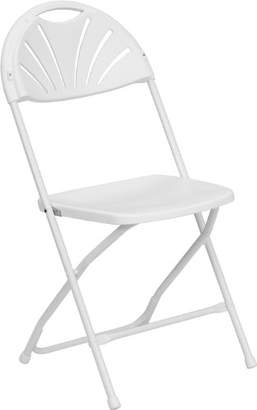 Flash Furniture HERCULES Series 800 lb. Capacity White Plastic Fan Back Folding Chair