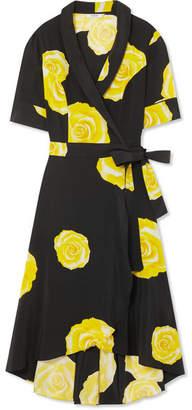 Ganni Floral-print Washed-silk Wrap Dress - Black