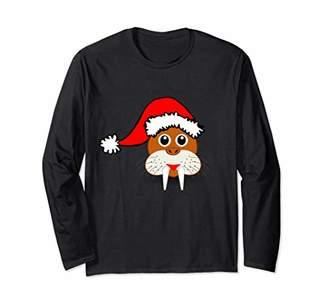 Cute Walrus With Santa Hat Christmas Long Sleeve T-shirt