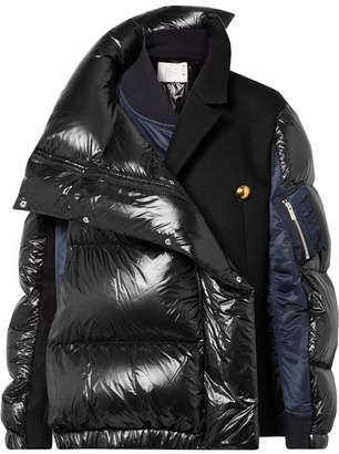 Sacai Oversized Wool-paneled Quilted Shell Down Coat - Black