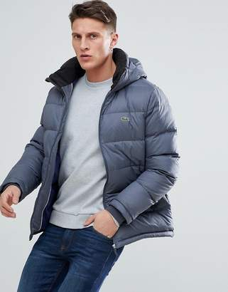 Lacoste Hooded Down Jacket In Dark Gray