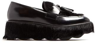 Prada - Tassel Embellished Leather Flatform Loafers - Womens - Black