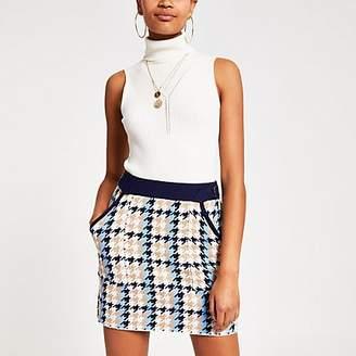 River Island Blue check knitted utility mini skirt