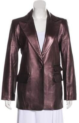Ellen Tracy Linda Allard Leather Peak-Lapel Blazer
