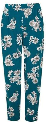 Evans Teal Blue Floral Tapered Trousers