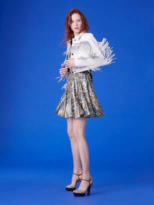 Diane von Furstenberg Long-Sleeve Fitted Fringe Jacket