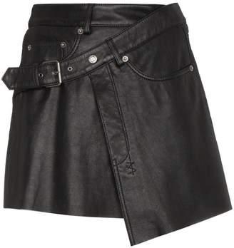 Ksubi Mini Wrap Leather Skirt