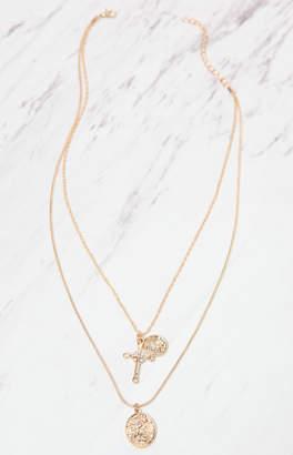 LA Hearts Cross Layered Necklace
