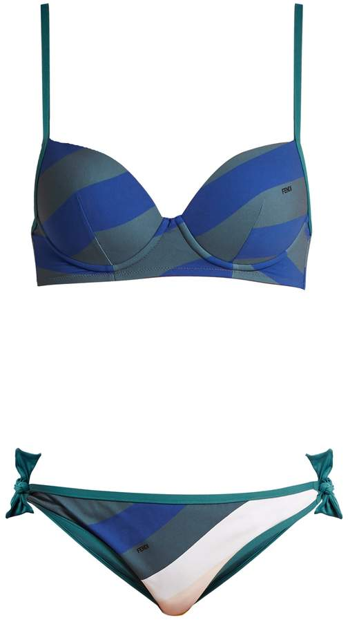 FENDI Striped balconette bikini