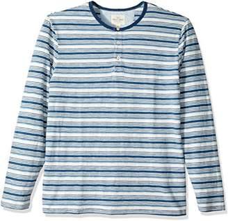 True Grit Men's Indigo Long Sleeve Striped Crew Henley Shirt