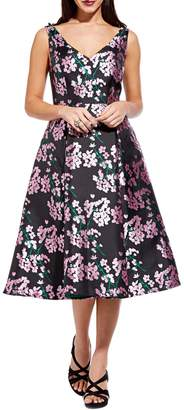 Adrianna Papell Floral-Print Sleeveless Fit--Flare Dress