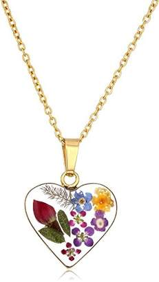 Sterling Silver Multi-Colored Pressed Flower Heart Pendant Necklace