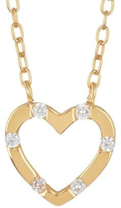 Argentovivo 18K Gold Plated Sterling Silver CZ Heart Pendant Necklace