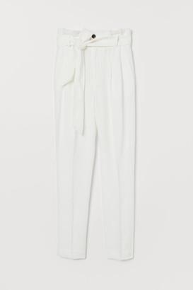 H&M Linen-blend Paper-bag Pants - White