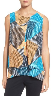 Women's Chaus Basket Weave Print Tiered Blouse $69 thestylecure.com