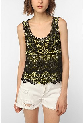 Urban Outfitters Staring At Stars Crochet Neon Tank