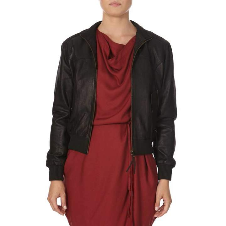 Black Catepillar Suede Leather Bomber Jacket