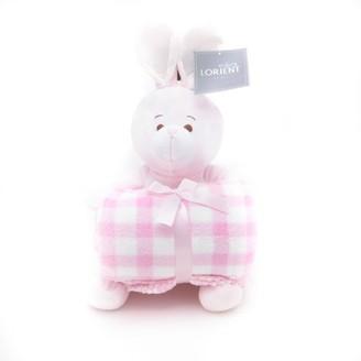 Lorient Home Stuffed Animal and Fleece Throw Blanket Gift Set - Pink