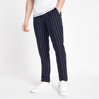 Mens Navy stripe skinny fit jogger trousers