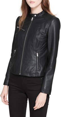 Andrew Marc Classic Stand-Collar Leather Moto Jacket