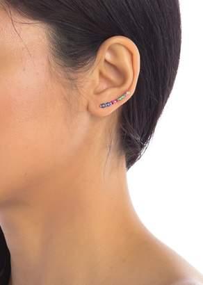 ADORNIA Sterling Silver Multi-Color Swarovski Crystal Crawler Earrings