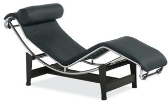 Pierre Chaise Lounge in Black Leather