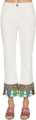 Etro Crop Flared Stretch Cotton Denim Jeans