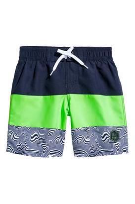 H&M Printed Swim Shorts - Dark blue/neon green - Kids