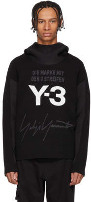 Y-3 Black and White Stacked Logo Hoodie
