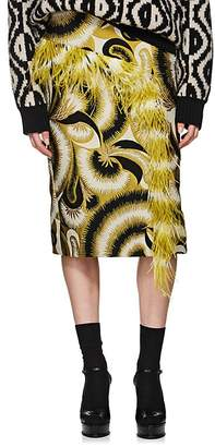 Dries Van Noten Women's Feather-Trimmed Jacquard Skirt