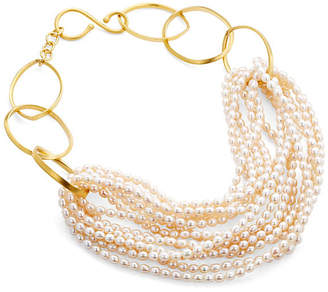 Catherine Canino Freshwater Pearl Gold Twist Necklace