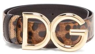 Dolce & Gabbana Buckle Leopard Print Leather Belt - Womens - Brown