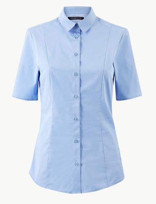 Marks and Spencer Cotton Rich Button Detailed Shirt
