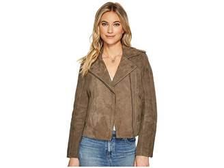 Lucky Brand Suede Moto Jacket Women's Coat