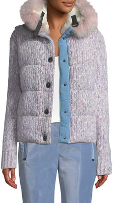 Moncler Tweed Cable-Knit Puffer Coat w/ Fur-Trim Hood