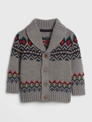 Gap Mountain Fair Isle Shawl-Collar Cardigan Sweater