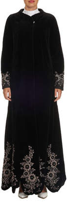 Pajaro Floral-Embroidered Sheared Mink Duster