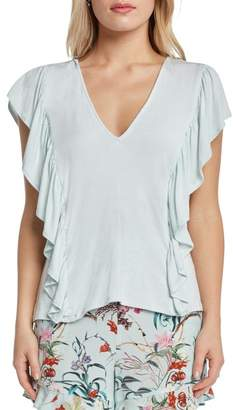 Willow & Clay Ruffle V-Neck Knit Top