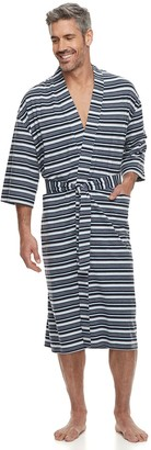 Big & Tall Residence Striped Jersey Knit Kimono Robe