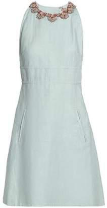 Valentino Bead-Embellished Linen Mini Dress